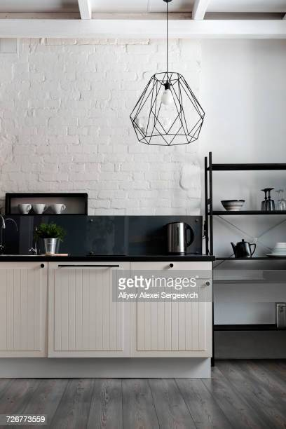 White and black domestic kitchen