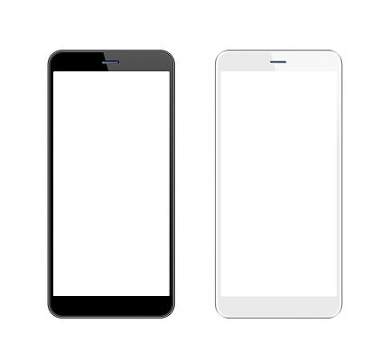 White and Black Smartphone with Blank Screen. Mobile Phone Template. Copy Space 1145914975