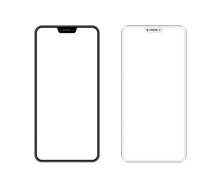 White and Black Smartphone with Blank Screen. Mobile Phone Template. Copy Space 1153404722