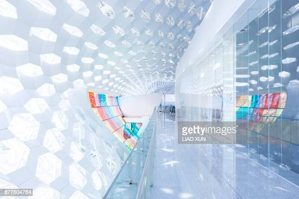 White and colorful curtain wall at Shenzen airport terminal