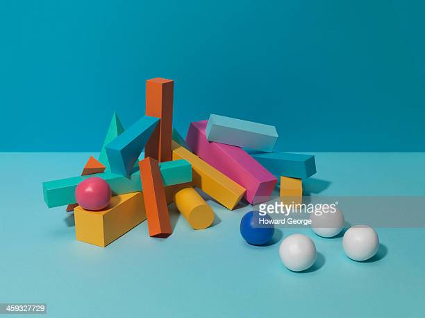 White and Coloured Balls with Coloured Shapes