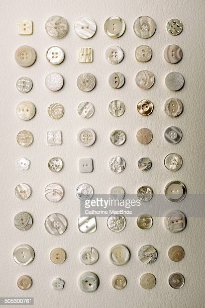 white and cream button collection... - catherine macbride stock pictures, royalty-free photos & images