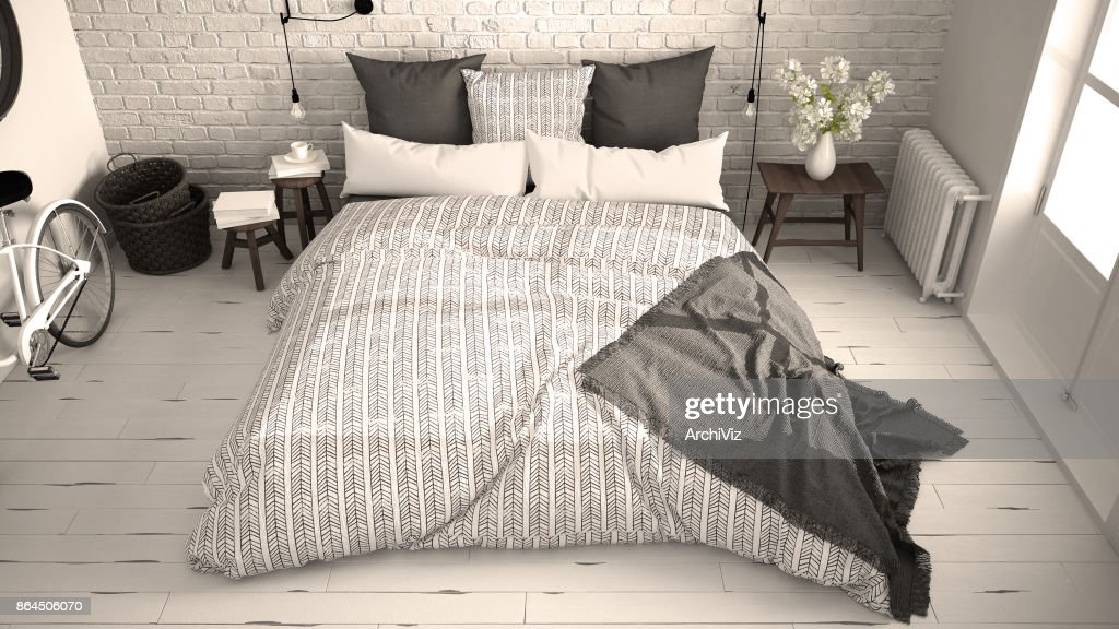 double bed top view. Perfect Top White And Gray Vintage Bedroom With Cozy Double Bed Brick Wall Wooden  Floor Big Window Scandinavian Minimalist Architecture Interior Design Top View Throughout Double Bed Top View P