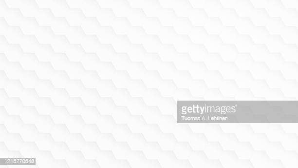 white and light gray hexagon pattern on white. - white background stock pictures, royalty-free photos & images