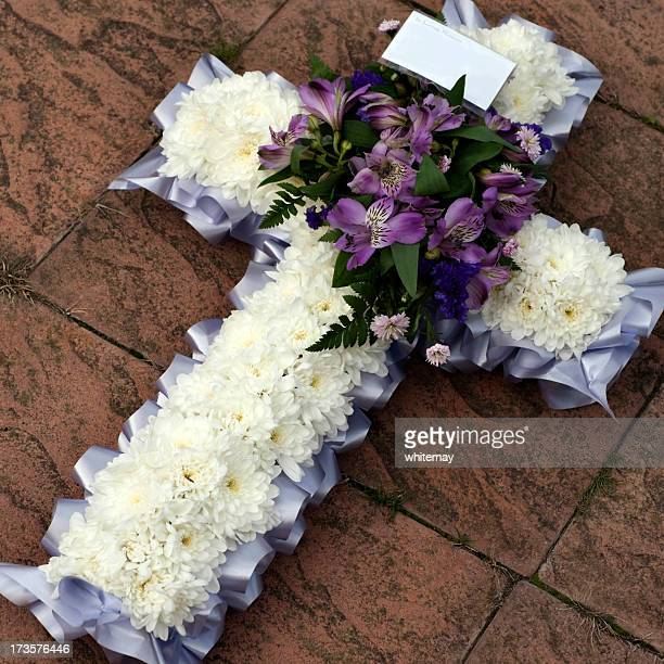 white and lilac cross - crosses with flowers stock pictures, royalty-free photos & images