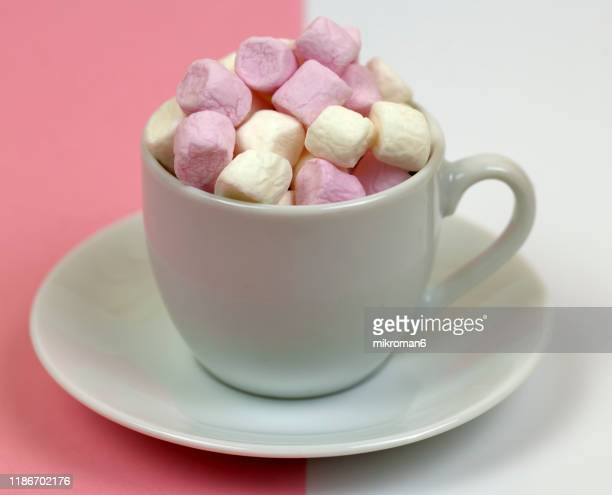white and pink marshmallows sweets - addiction stock pictures, royalty-free photos & images
