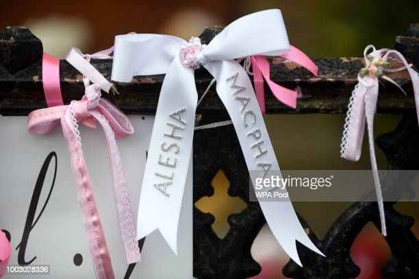 White and pink ribbons left outside the funeral of sixyearold Alesha MacPhail at the Coats Funeral Home on July 21 2018 in Coatbridge Scotland Alesha...