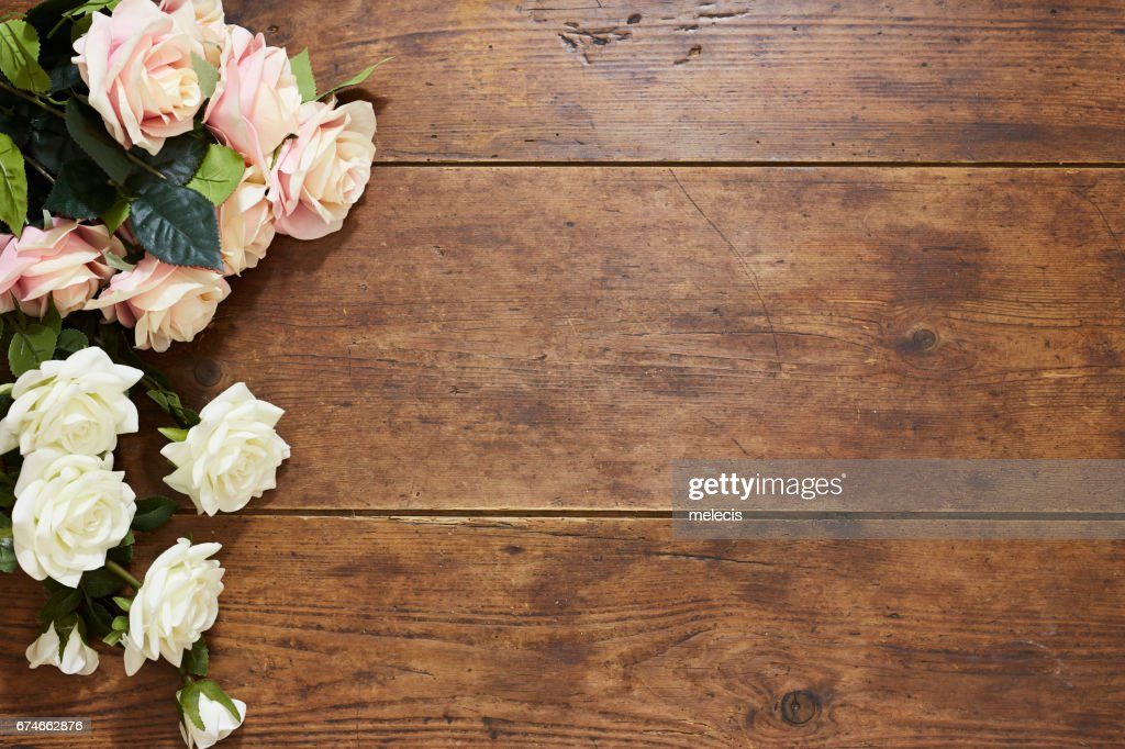 Free white rose on wood background Images, Pictures, and