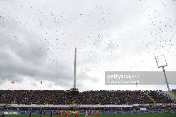 White and Purple balloons are released to pay tribute to late Fiorentina's captain Davide Astori on March 11 2018 during the Italian Serie A football...