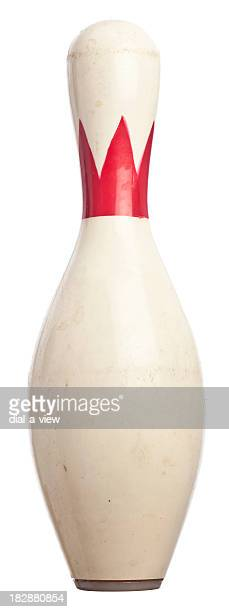 white and red bowling pin isolated on white background - kegel stockfoto's en -beelden