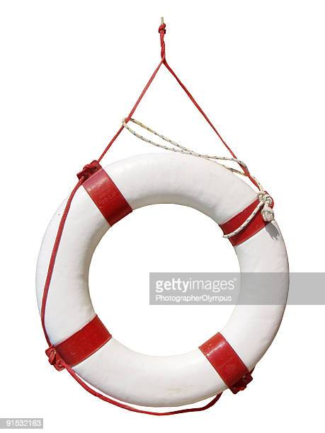 White and red life buoy hanging up