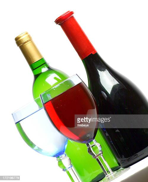 White and red wine with glasses