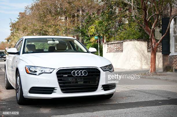white audi a6 (c 7 series) in charleston, usa - audi a6 stock photos and pictures