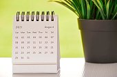 White August 2021 calendar with green backgrounds and potted plant. 2021 New Year Concept