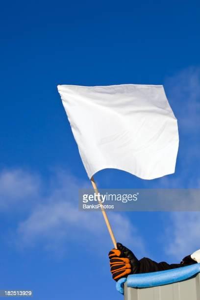 Weiße Auto Rennen Flagge gegen einen blauen Himmel