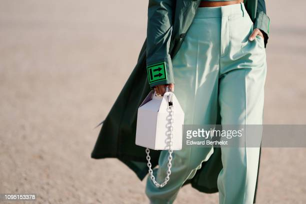 A white bag is seen outside OffWhite during Paris Fashion Week Menswear F/W 20192020 on January 16 2019 in Paris France