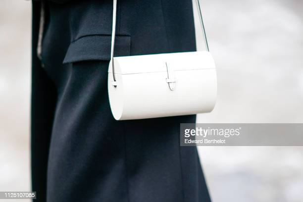A white bag outside Alexandre Vauthier during Paris Fashion Week Haute Couture Spring Summer 2020 on January 22 2019 in Paris France