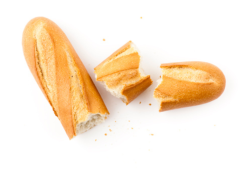 White baguette pieces on a white background 182483732