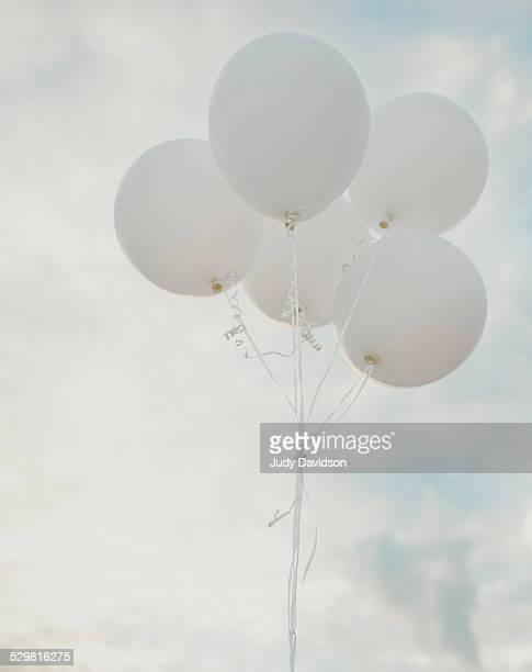 White Balloons Pale Blue Sky