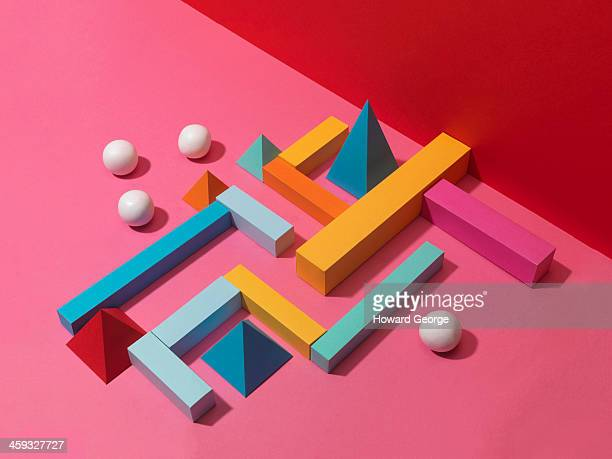 white balls with colour shape maze - man made object stock pictures, royalty-free photos & images