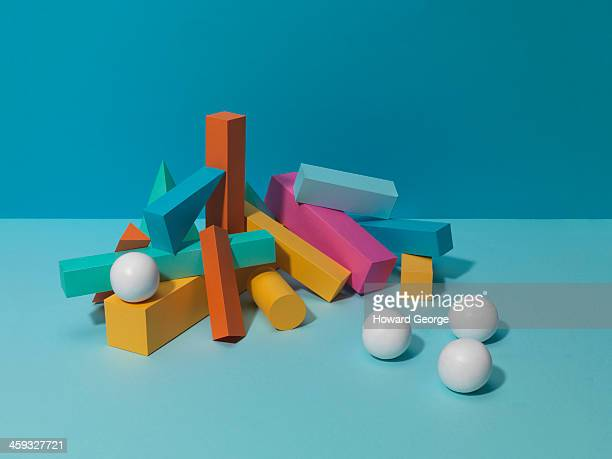 White Balls with coloured shapes