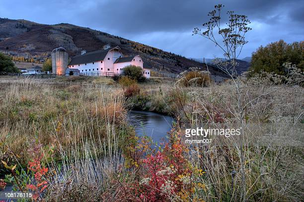 white barn in autumn - park city stock pictures, royalty-free photos & images