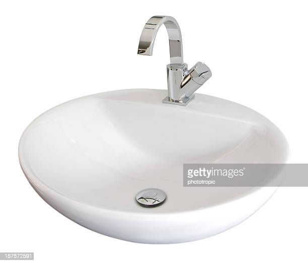 white basin - sink stock pictures, royalty-free photos & images