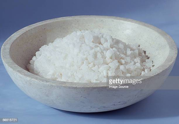 White bath salts in a bowl