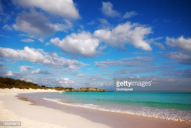 white beach and turquoise waters of bermuda's horseshoe bay - southampton parish stock photos and pictures
