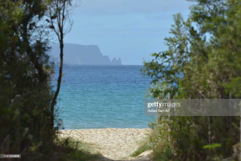 White beach in Tasman national park Australia : Stock Photo