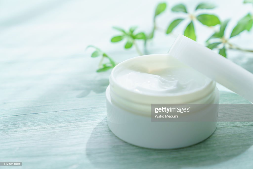 white beauty cream on wooden background : Stock Photo