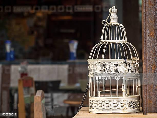 A white birdcage