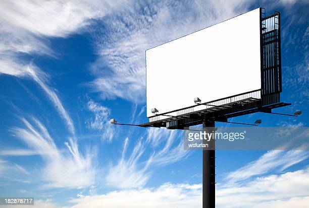 A white blank billboard with the view of the sky