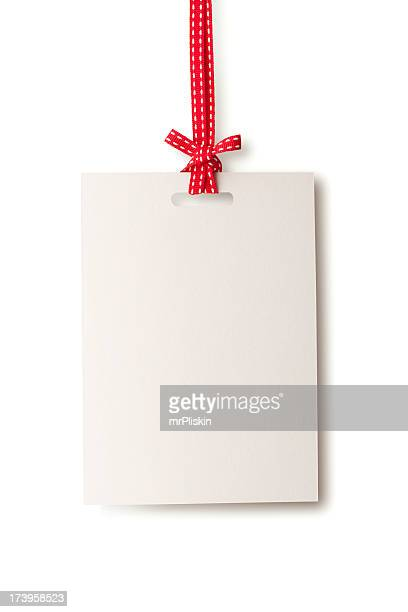 white blank card hanging from red ribbon - ribbon stock pictures, royalty-free photos & images