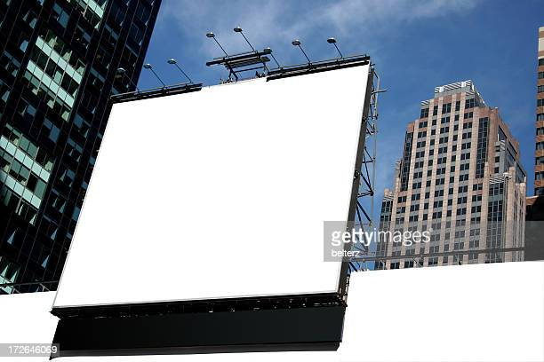 White blank city billboard with high rise buildings