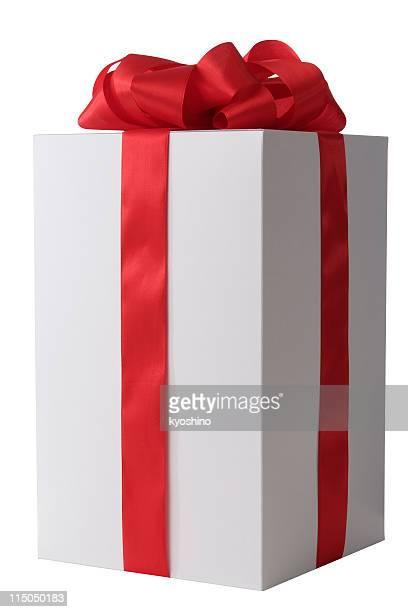 白のギフトボックス空白で結んだレッドのリボン