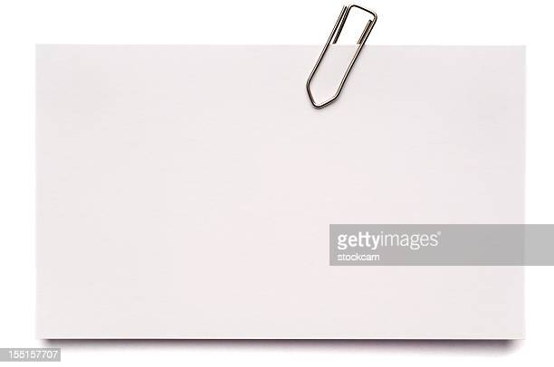 white blank index card isolated on white - paper clips stock photos and pictures