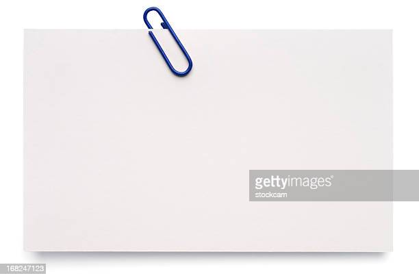 white blank index card - paper clips stock photos and pictures