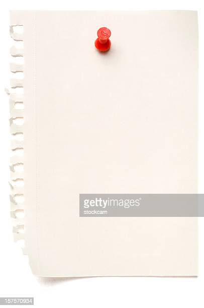 White blank note paper isolated