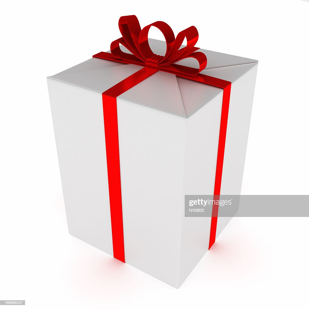 White Blank Package Gift Box Red Satin Ribbon Bow 2 : Stock Photo