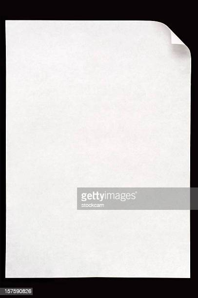 White blank paper isolated on black background