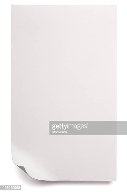 White blank sheet of Paper isolated on white