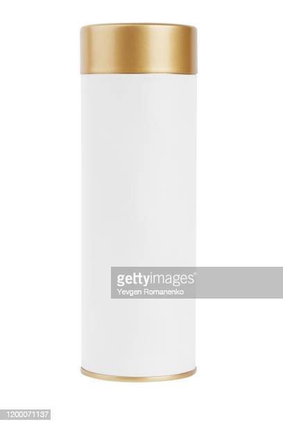 white blank tin can mockup. cylindrical packaging for tea and coffee. - cylinder stock pictures, royalty-free photos & images