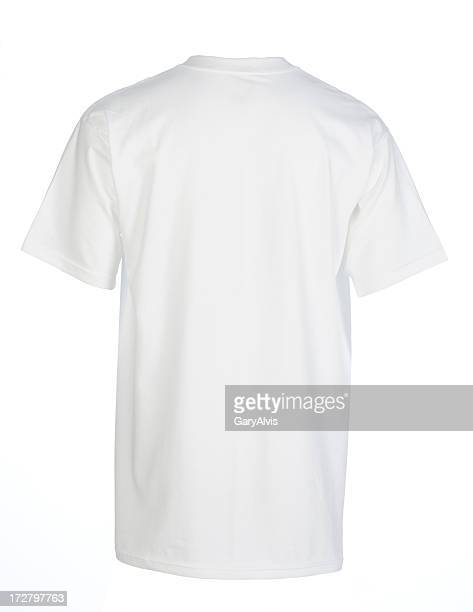White, blank, t-shirt back-isolated on white