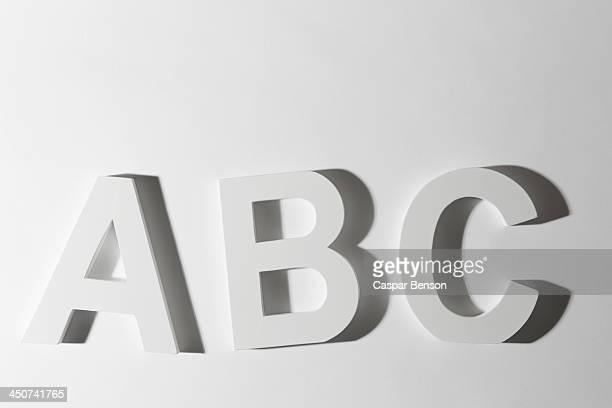 White block letters spelling ABC