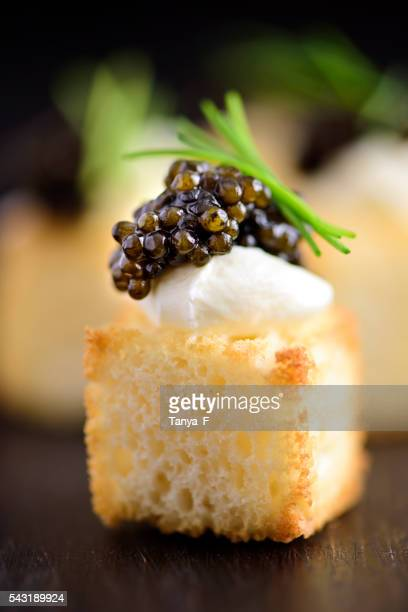 White Bread Cube and Black Caviar Appetizer