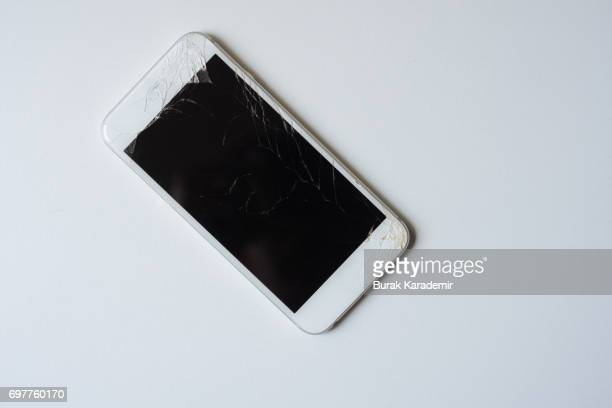 White broken mobile phone screen isolated. Smartphone monitor