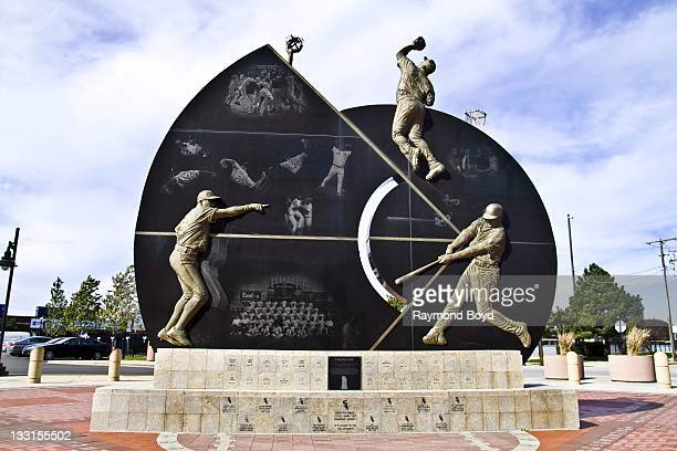 White bronze and granite sculpture celebrating the Chicago White Sox' 2005 World Series Championship sits in Champions Plaza at the main entrance to...