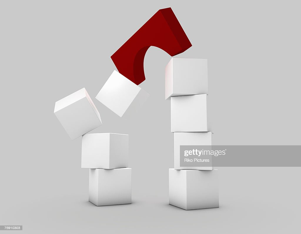 White building blocks with red arch falling : Stock Photo