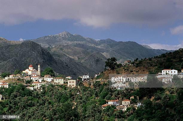 white buildings in mountain village of lakki, crete - latchi ストックフォトと画像
